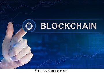 ビジネス, blockchain, ボタン, かちりと鳴ること, 手