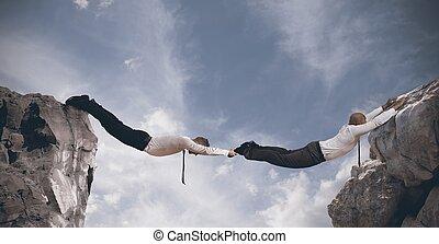 ビジネス, bridge., 概念, の, 協力