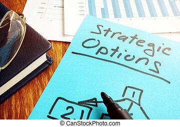 ビジネス, concept., 戦略上である, 計画, ペーパー, documents., オプション