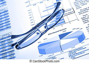 ビジネス, concept., eyewear, report., 印刷される, srock