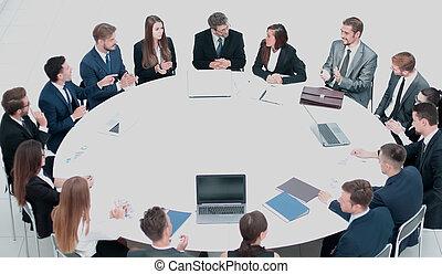 ビジネス, conference., ビジネス, meeting., ビジネス 人々, 中に, 形式的