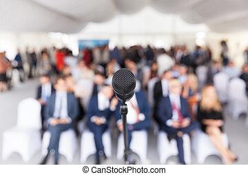 ビジネス, conference., 企業である, presentation., microphone.