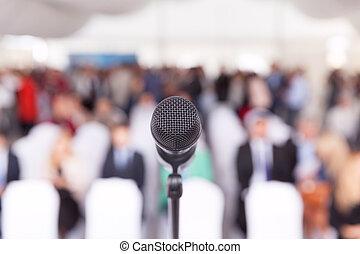 ビジネス, conference., microphone., 企業である, presentation.
