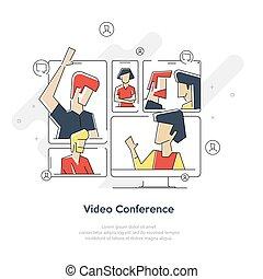 ビジネス, employees., ミーティング, 訓練, イラスト, ビデオ, オフィス, 平ら, 漫画, chat., ミーティング, セミナー, オンラインで, ceo, 会議, 女, concept., vector., 隔離された, 相談