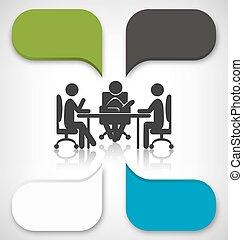 ビジネス, grayscale, 要素, infographic, 背景, ミーティング