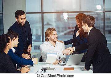 ビジネス, handshake., ビジネス, 握手, そして, ビジネス 人々, 概念