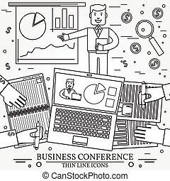 ビジネス, icon., 人, presentation., 線, 薄くなりなさい, 寄付