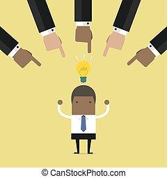ビジネス, idea., ビジネスマン, 選択, 手, 最も良く