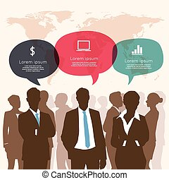 ビジネス, ifographic, ミーティング, スピーチ泡
