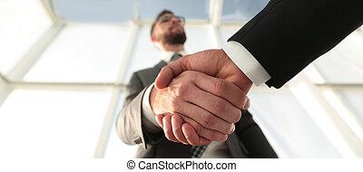 ビジネス, photo., 効果的である, client., 概念, 交渉
