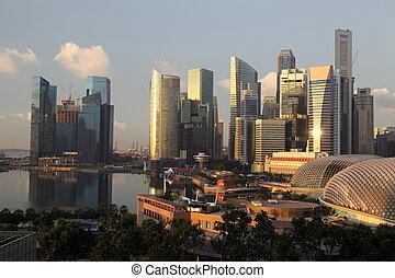 ビジネス, skyscrappers, 多数, 上に, singapore., ダウンタウンに, スカイライン, 地区, 日の出, 光景