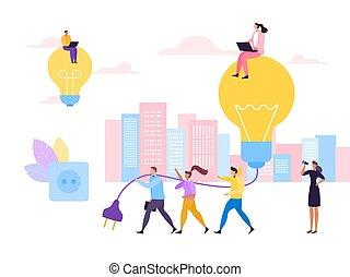 ビジネス, socket., illustration., 人々, 労働者, 考え, オフィス, 金融, ベクトル, 協力, 女, 創造的, プロジェクト, プラグ, 平ら, 人