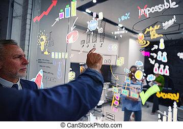 ビジネス, statistics., project., チームワーク, 仕事, 概念, innovations, 始動, 人々, 新しい, について
