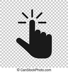 ビジネス, style., マウス, concept., 隔離された, イラスト, クリック, バックグラウンド。, ベクトル, 押し, 手, ポインター, ボタン, 透明, アイコン