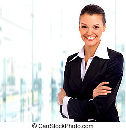 ビジネス, woman., 隔離された, 上に, 白い背景