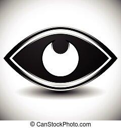 ビジョン, 目, observation., graphic., 光景, vector., 見る