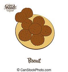 ビスケット, 図画, 有色人種, bread