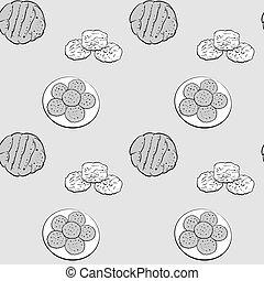 ビスケット, seamless, パターン, 図画, greyscale