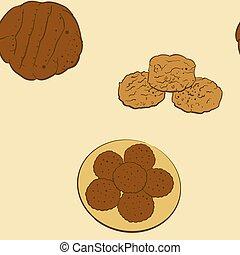 ビスケット, sketched, bread, seamless, パターン