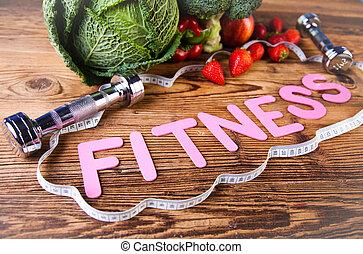 ビタミン, そして, フィットネス, 食事, dumbbell