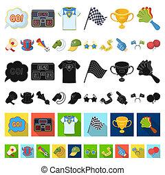 ビットマップ, design., スポーツアイコン, 漫画, ファン, セット, 網, 株, コレクション, シンボル, attributes, illustration.