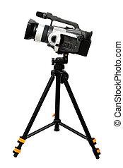 ビデオカメラ, 上に, 三脚