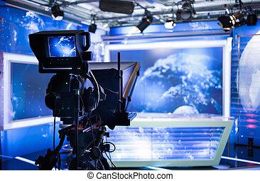 ビデオカメラ, -, 録音, ショー, 中に, tvスタジオ