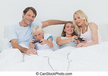ビデオゲーム, ベッド, 遊び, 家族