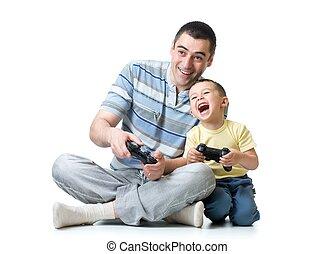ビデオゲーム, 父, 息子, 子供, 家, 遊び