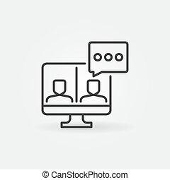 ビデオ会議, アウトライン, コンピュータアイコン, 概念, ベクトル