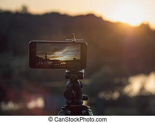 ビデオ景色, 日没, timelapse, 立ちなさい, クローズアップ, 三脚, 取得, smartphone, 写真