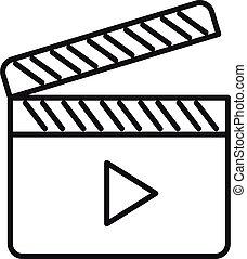ビデオ, アウトライン, アイコン, クラッパー, スタイル