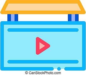 ビデオ, アウトライン, ベクトル, イラスト, アイコン, 広告