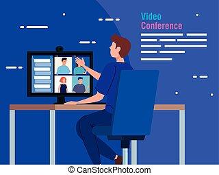 ビデオ, コンピュータ, 会議, 人