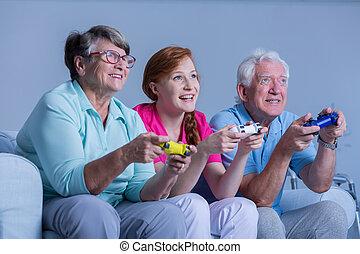 ビデオ, シニア, ゲーム, 遊び, 人々