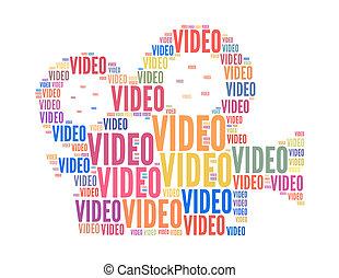ビデオ, テキスト, コラージュ, 作曲された, 中に, ∥, 形, の, フィルム, カメラ, ∥, 隔離された, 白