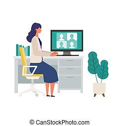 ビデオ, テレコンファレンス, を経て, 家, monitor., 会議, 女, オフィス。