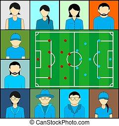 ビデオ, テレコンファレンス, フットボール, 監視