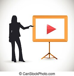 ビデオ, プレゼンテーション, 女性, イラスト