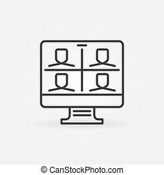 ビデオ, ベクトル, アイコン, 概念, アウトライン, 会議, コンピュータ