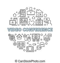 ビデオ, ベクトル, イラスト, 概念, アウトライン, 会議, ラウンド