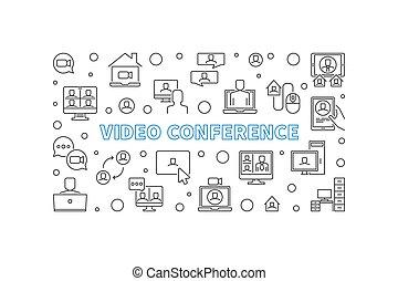 ビデオ, ベクトル, イラスト, 概念, アウトライン, 会議, banner.