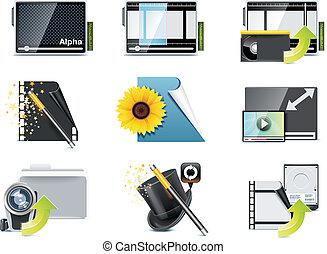 ビデオ, ベクトル, p.5, icons.