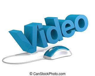 ビデオ, 単語, ∥で∥, 青, マウス
