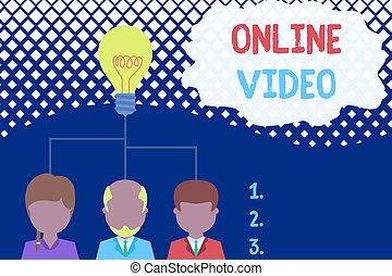 ビデオ, 考え, 写真, 概念, 上に, 取引, 始動, チーム, ビジネス エグゼクティブ, 伝達, インターネット, 提示, 執筆, オンラインで, meeting., テキスト, 共有, video., 人, 手, 3