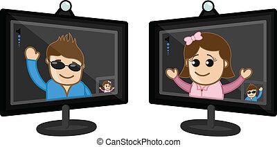 ビデオ, -, 談笑する, ビジネス, 漫画