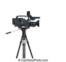 ビデオ, 隔離された, カメラ, 背景, デジタル, 専門家, 白