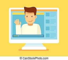 ビデオ, blogger, 概念