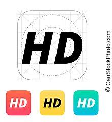 ビデオ, hd, 品質, icon.