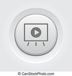 ビデオ, icon., 概念, プレゼンテーション, ビジネス